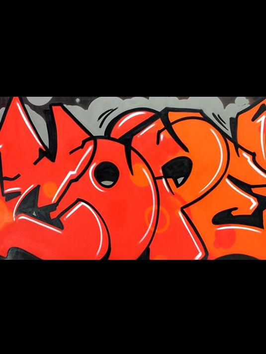 Cope2 detroit series lettrage rouge toile grand format