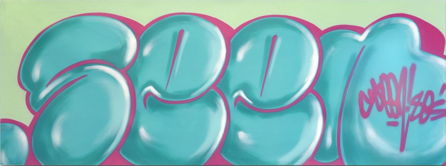 Seen classic bubble bleu vert toile graffiti