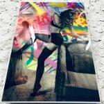Socrate artiste street art oeuvre boudoir sur toile en bois finition résine epoxy plan incliné